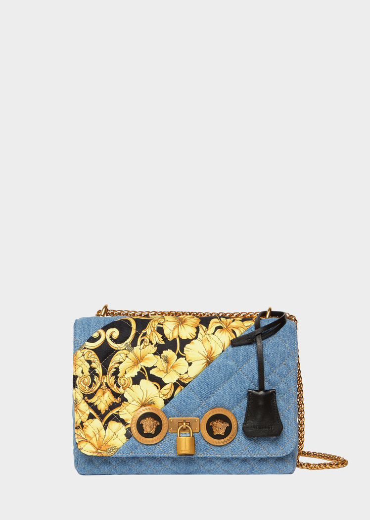 a47a0acfb6 Medium Gold Hibiscus Quilted Denim Icon Bag for Women | US Online ...