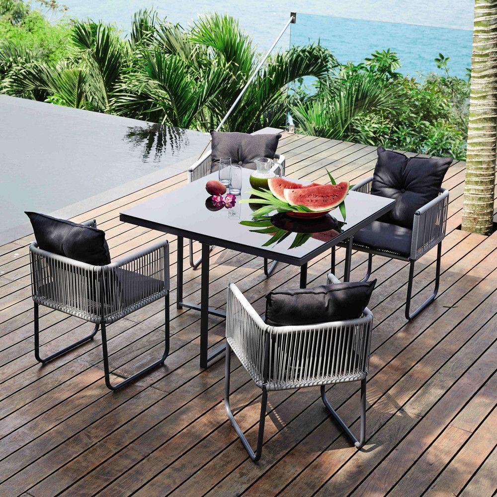 Gartentisch 4 Gartenstuhle Aus Kunstharz B 107 Cm Maisons Du Monde Diy Gartenmobel Gartenstuhle Gartentisch