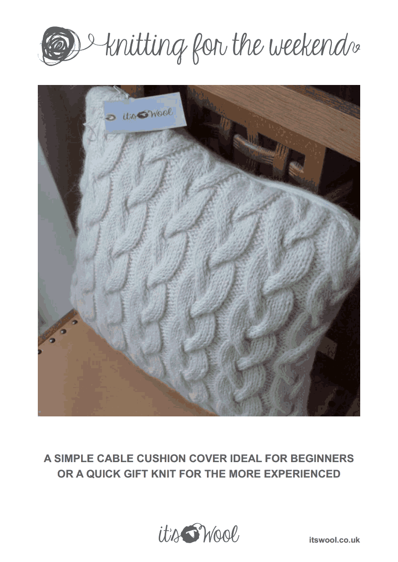 Cable knit cushion cover knitting patternpdf coussins pinterest