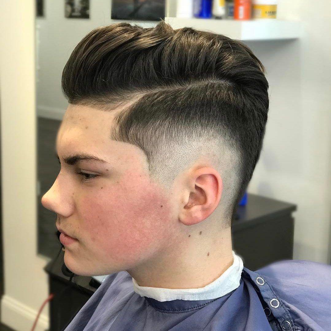 Side fade mens haircut pompadour fade haircuts  fade haircut pompadour fade and combover