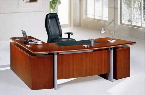 Charmant Home Office Desks L Shaped. Brown Solid Wood LShape Home Office