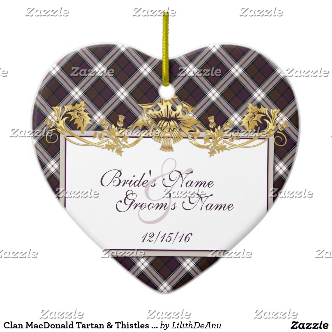 Clan MacDonald Tartan & Thistles Wedding Favor Ceramic Ornament ...