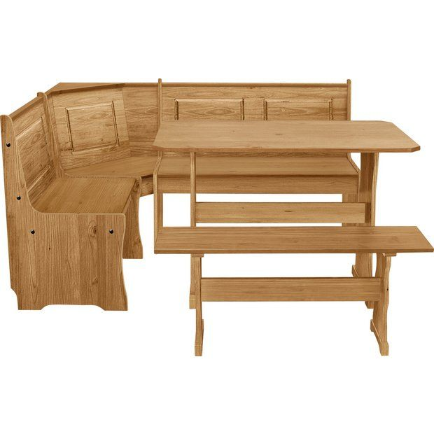 Buy HOME Puerto Rico Solid Wood Nook Table & 3 Corner Bench Set at