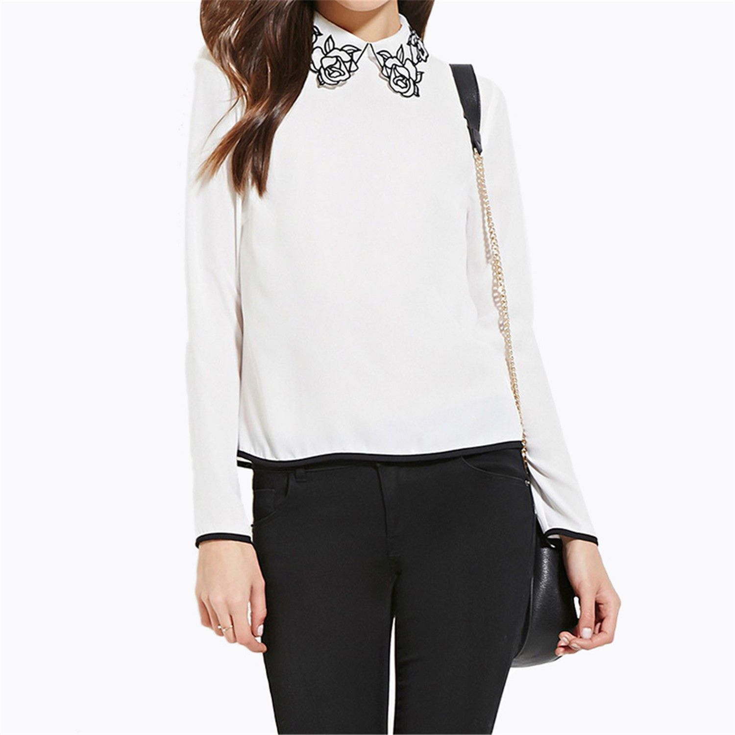 Floral Embroidered Peter Pan Collar Contrast Pullover Blouse Shirt ...