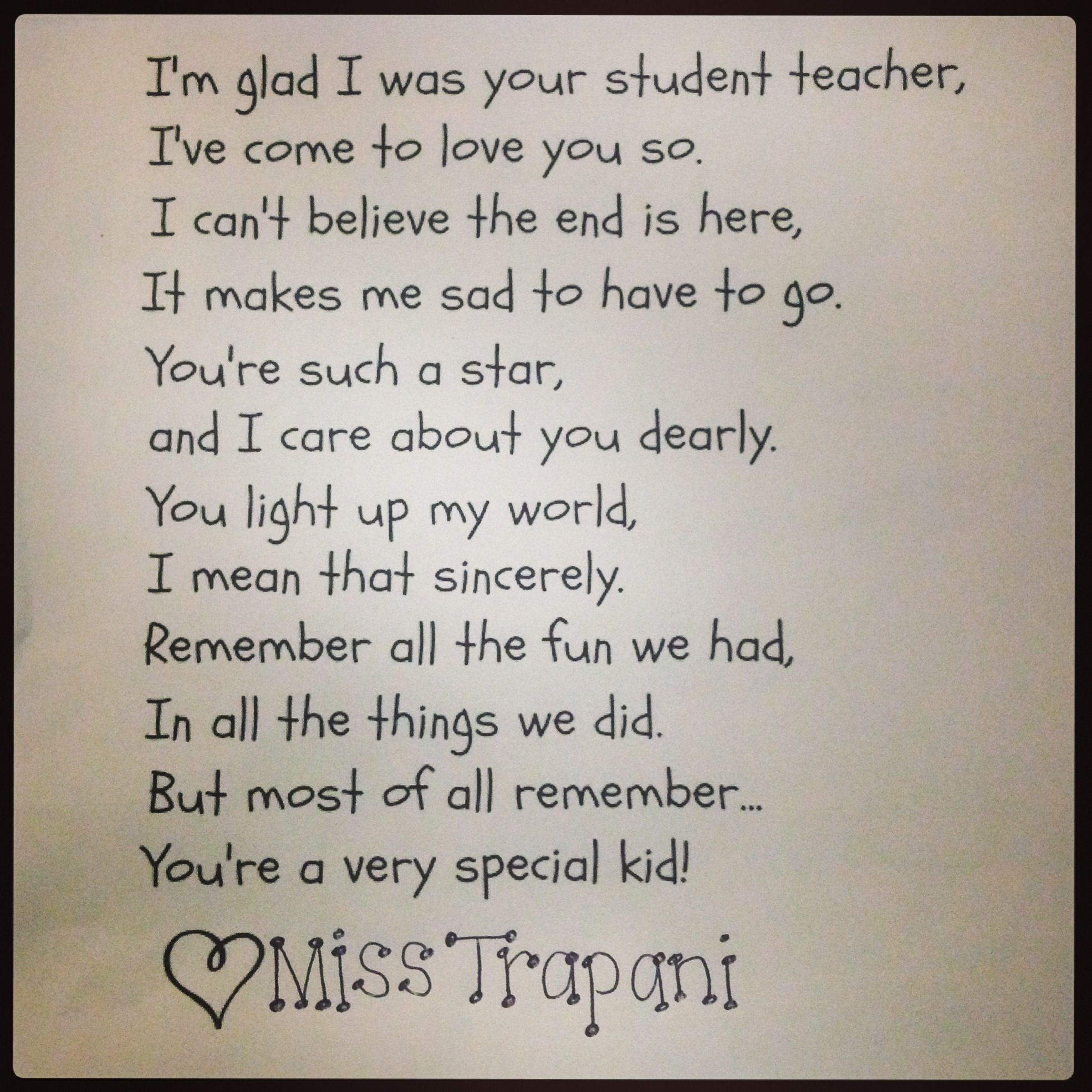 A Cute Poem To Give To Your Students As A Student Teacher  Gift