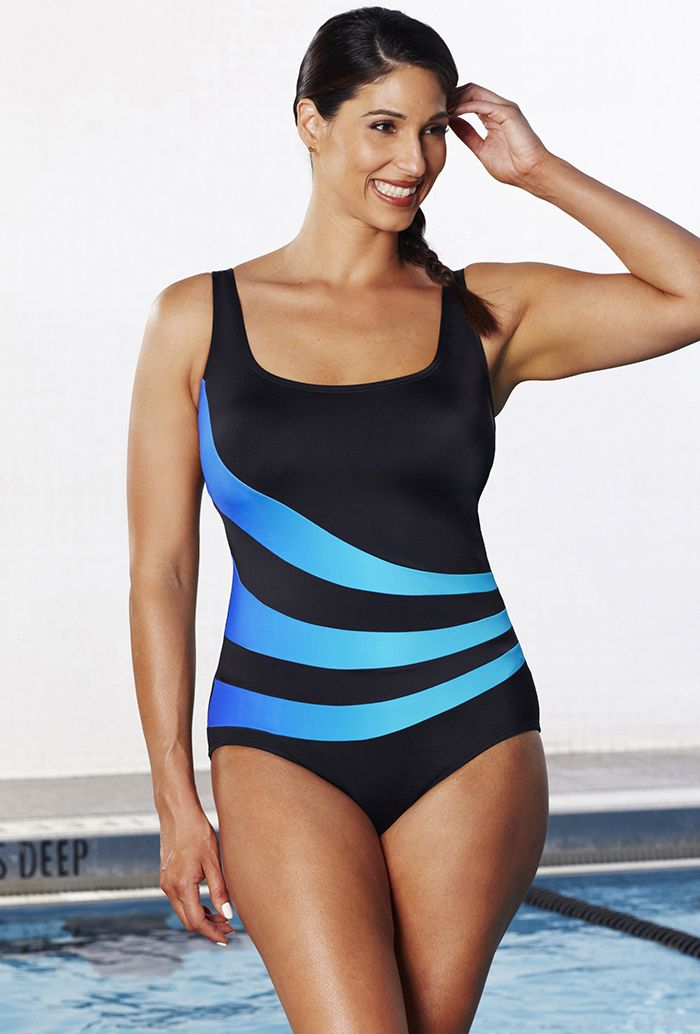 dec723797d Aquabelle Xtra Life Lycra Ombre Spliced Sport Swimsuit | Favs! in ...