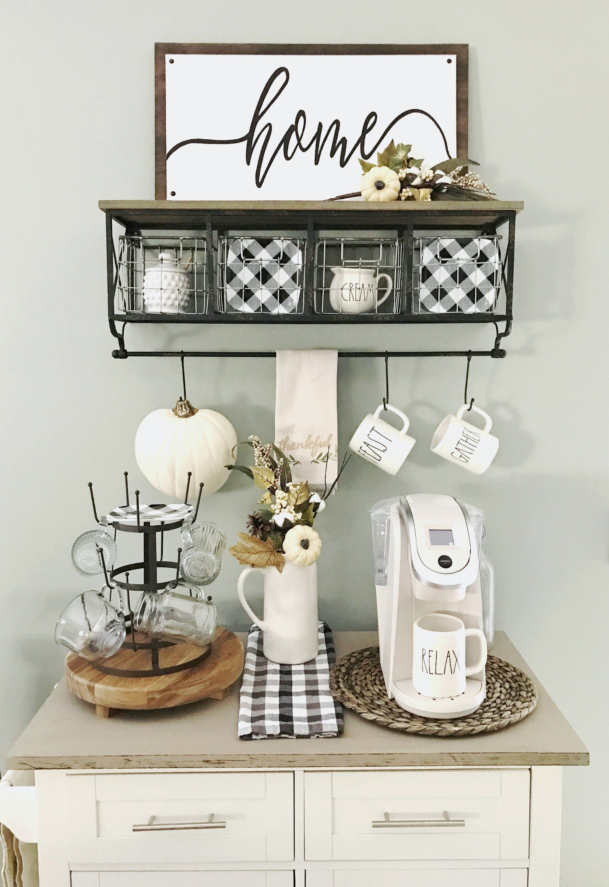 Coffee Bar Decor Updated For Spring The Home I Create Coffee Bar Home Home Coffee Stations Cottage Style Kitchen