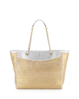V1UR7 Tory Burch Fleming Metallic Tote Bag, Bag