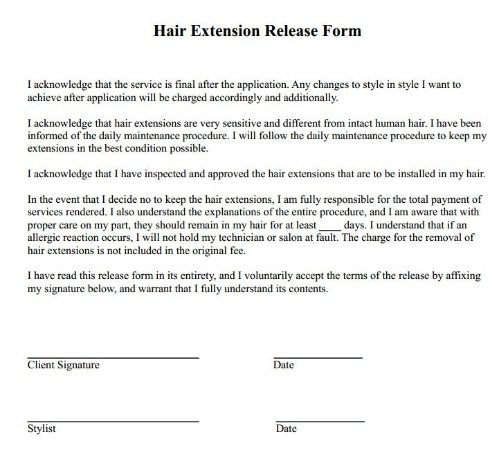 Hair Extension Release Form Hair extensions and Extensions - generic release form