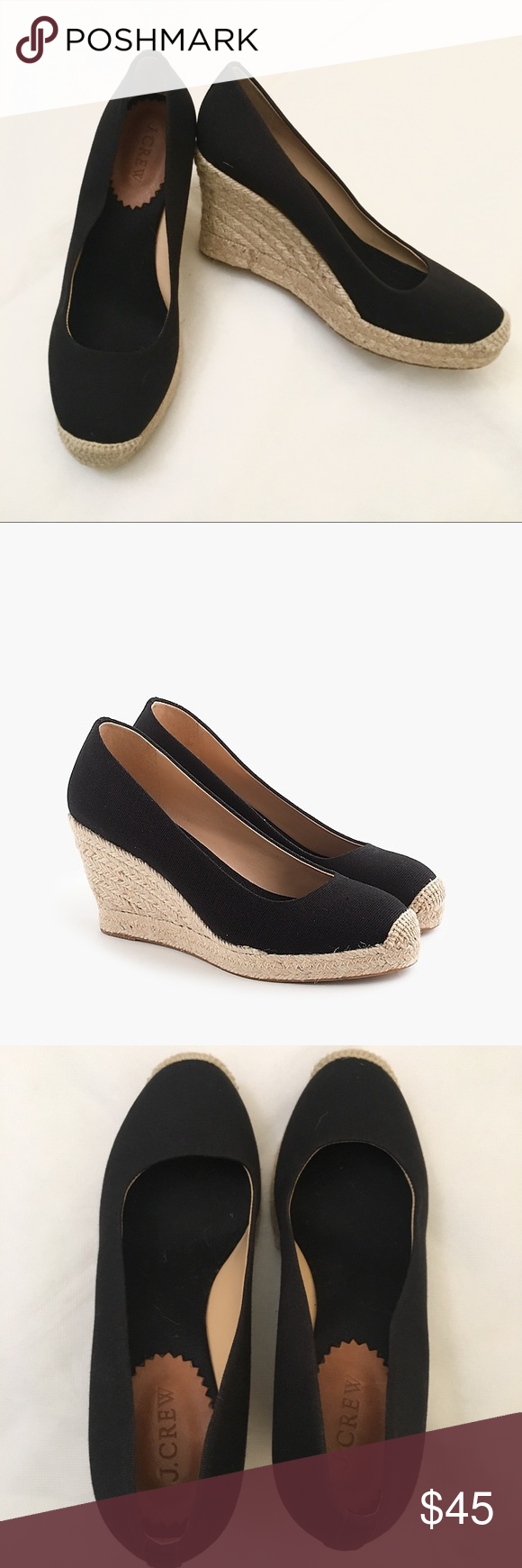 6237f018027 Canvas upper. Leather lining. J. Crew Shoes Espadrilles. J Crew Seville  Espadrille Wedges Navy ...