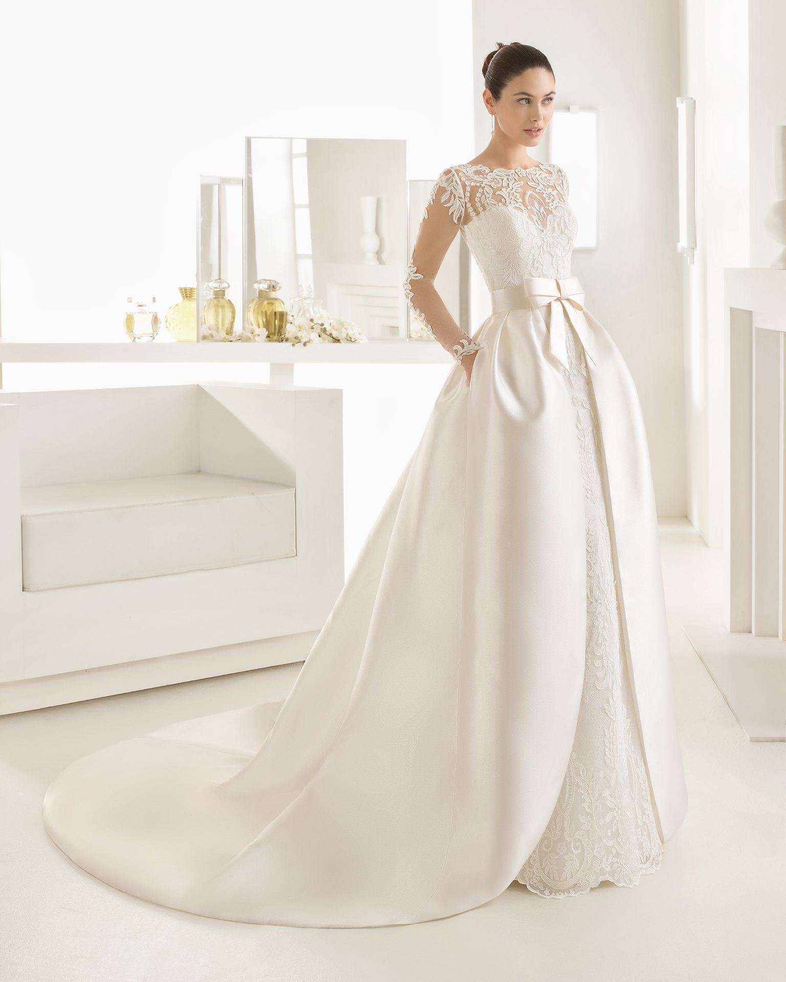 olaf 2017 bridal collection rosa clará two lace wedding Wedding Dress Designers Rosa Clara schaffer's in des moines, iowa and in scottsdale, arizona carries rosa clara style olaf long sleeved lace column dress with boat neckline in natural wedding dress designers rosa clara