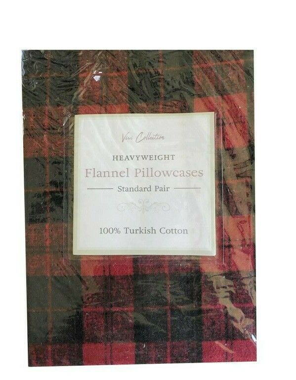 Flannel Pillowcases Grey Taupe Plaid Standard Heavyweight 100/% Cotton set of 2