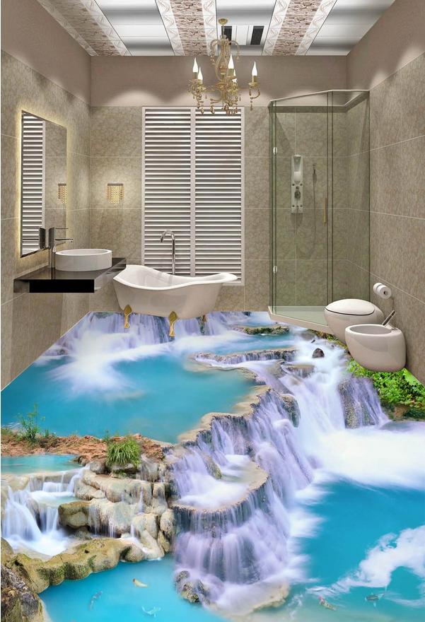 Best 3D Waterfall Stone 2352 Floor Wallpaper Murals Wall Print 400 x 300
