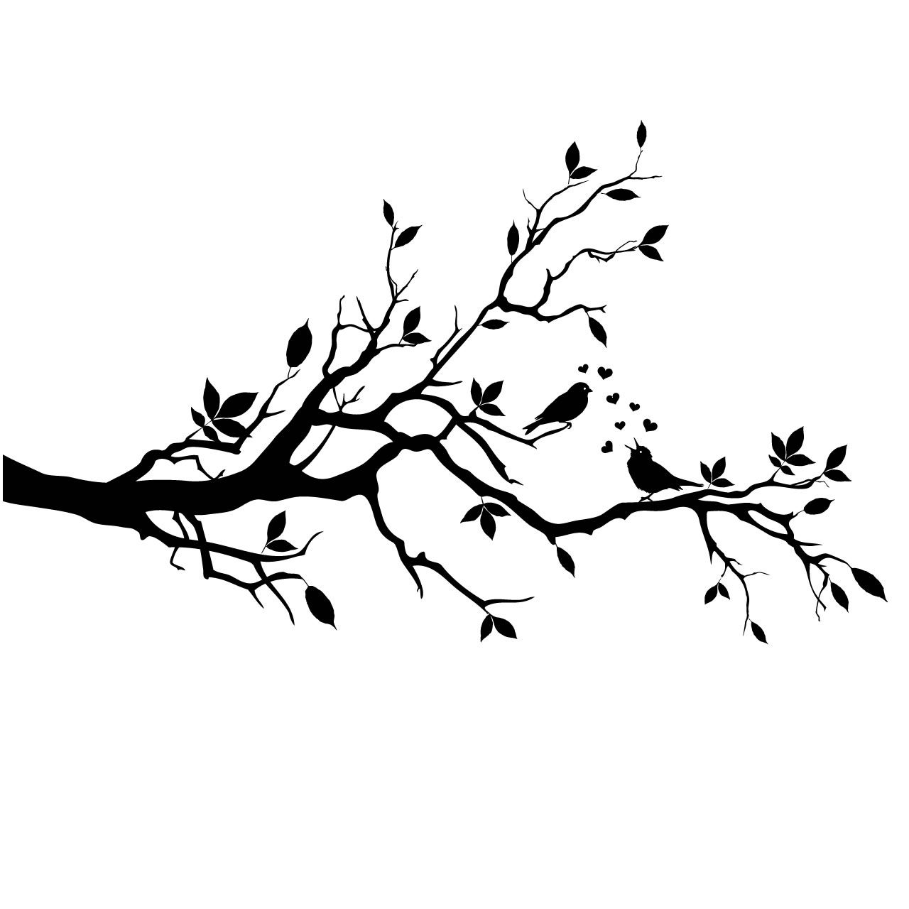 Details about love birds on a branch wall stickers wall for Black and white tree mural