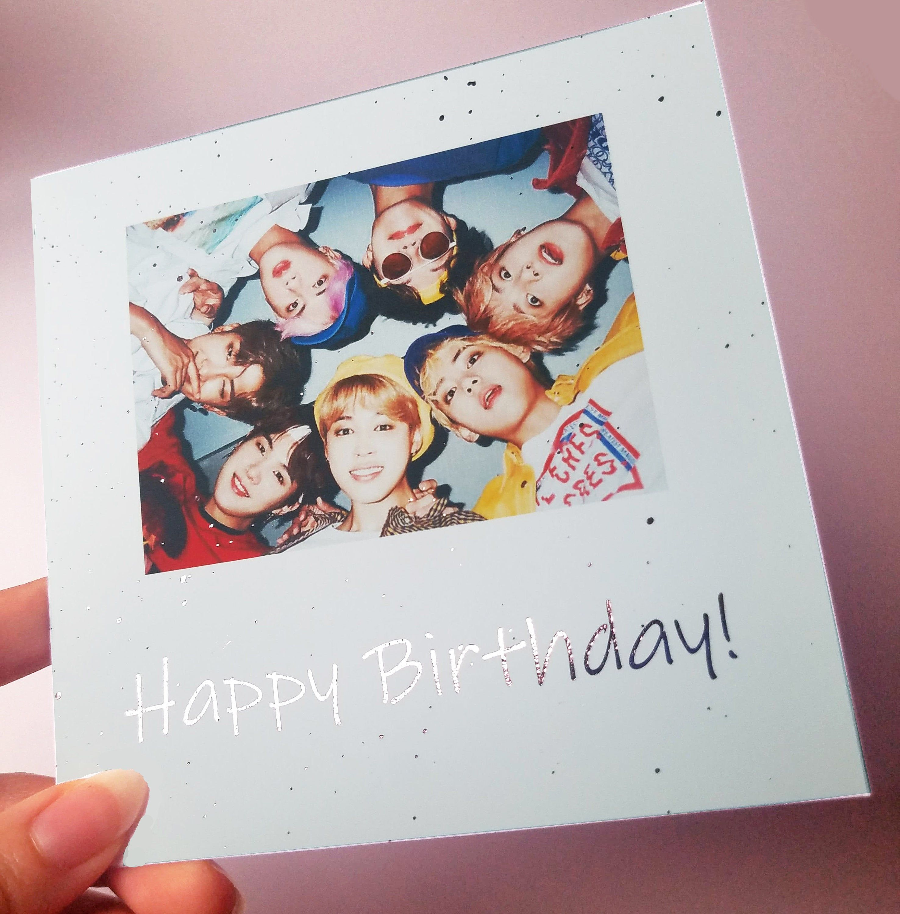 BTS Happy Birthday Foil Customizable Card Rose Gold Pink