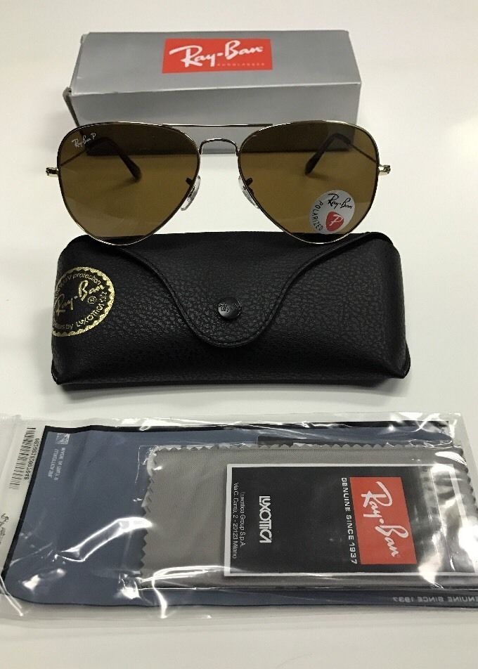 4e2c728937 RAY BAN AVIATOR 3025 GOLD FRAME BROWN POLARIZED RB 3025 001 57 58MM ...