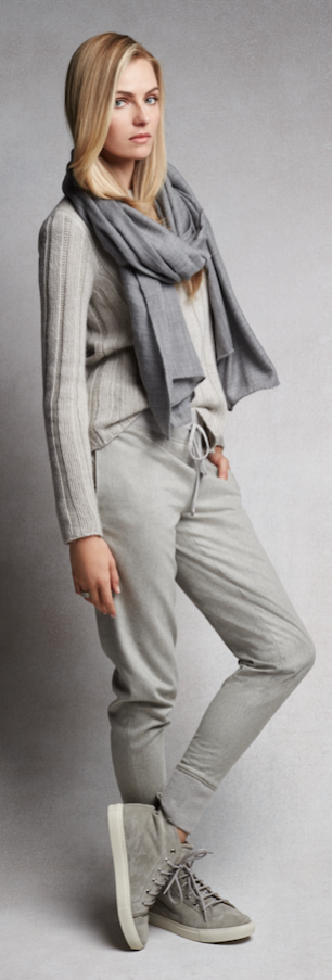 Luxe Leisure: Ultra-soft grey cashmere joggers and suede sneakers for the ultimate off-duty look.
