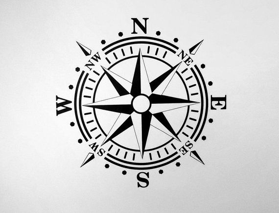 Compass Rose Removable WALL DECAL Art Vinyl Nautical Beach | Etsy