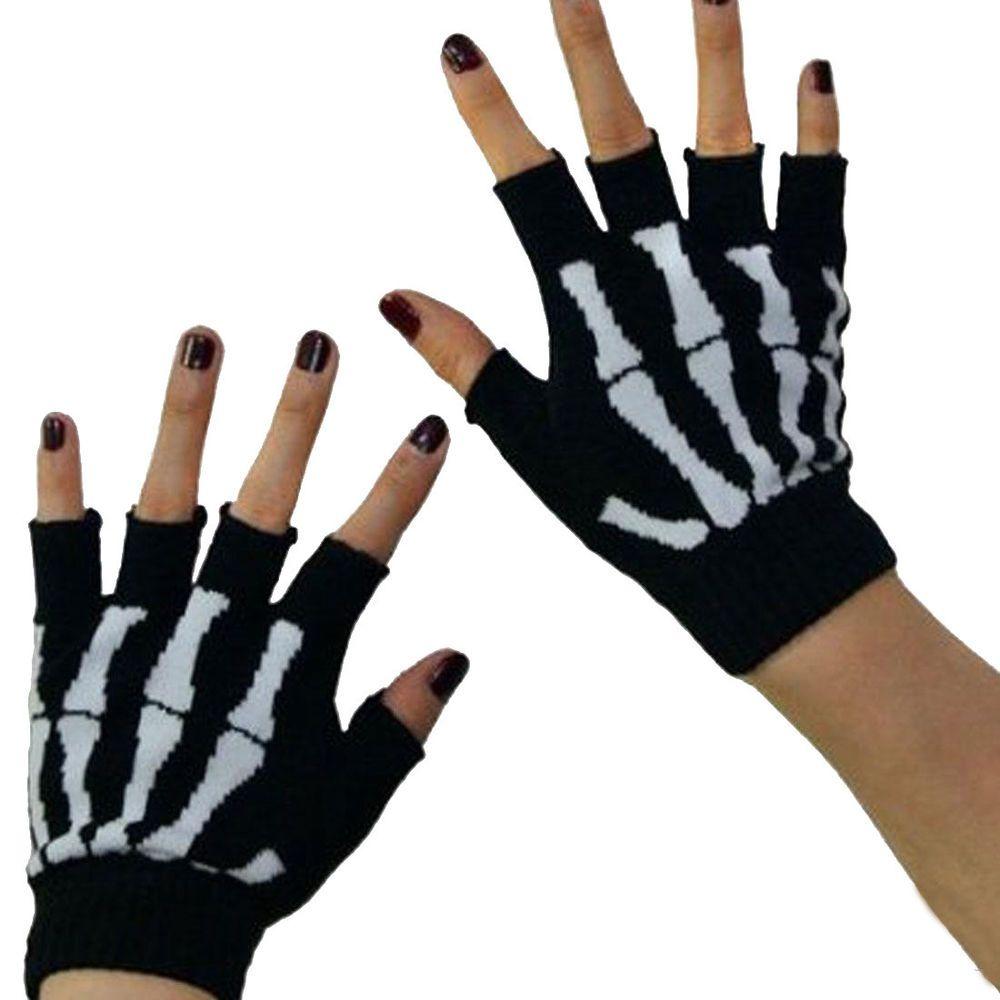 Skull and Crossbones Stretch Gloves