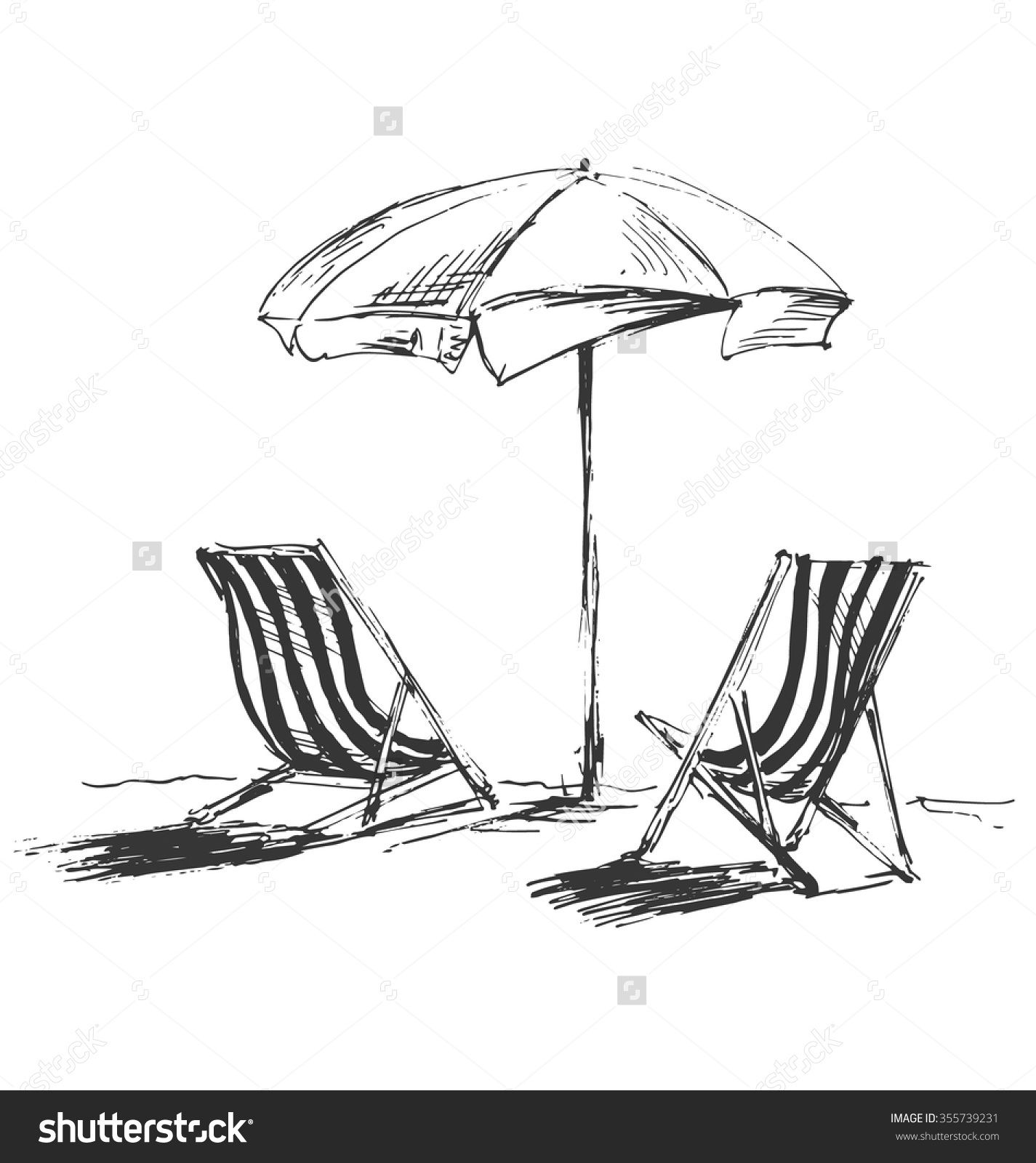 Hand Sketch With Beach Chairs And Parasols Beach Sketches Drawings