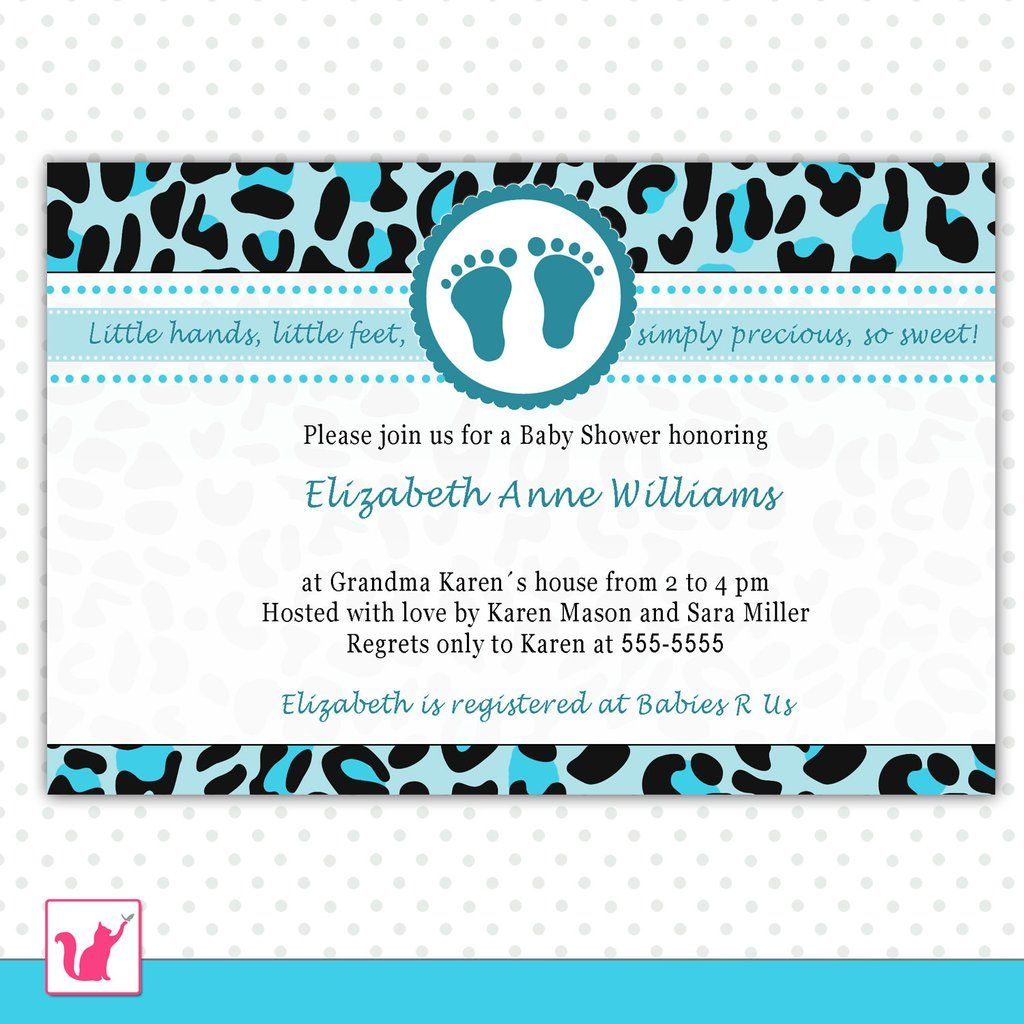 Leopard Invitation Baby Boy Shower Teal Black | things I love ...