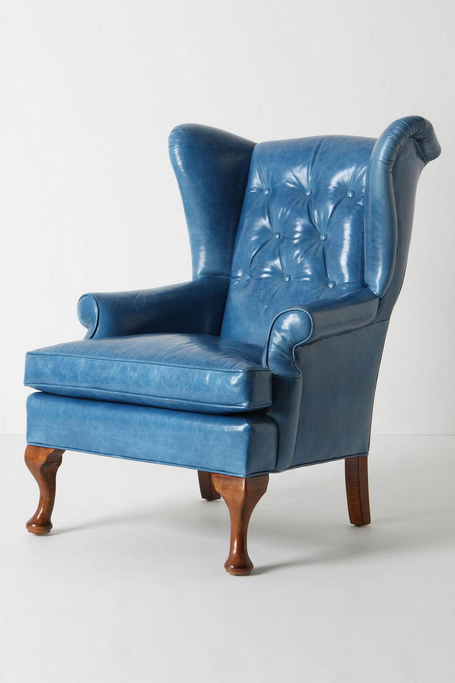 Howell Wingback Leather Blue Leather Chair Leather Wingback