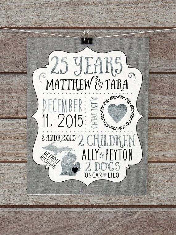25 Year Anniversary Gift Silver Wedding Custom For Husband Wife 25th