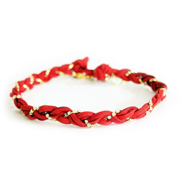 Red chocker in deerskin leather with crystals. ($54) ❤ liked on Polyvore featuring jewelry, red jewellery and red jewelry