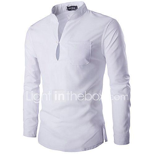 1c3a575f8 Masculino Camisa Casual Simples Primavera / Outono,Sólido Branco / Preto  Algodão Colarinho Chinês Manga