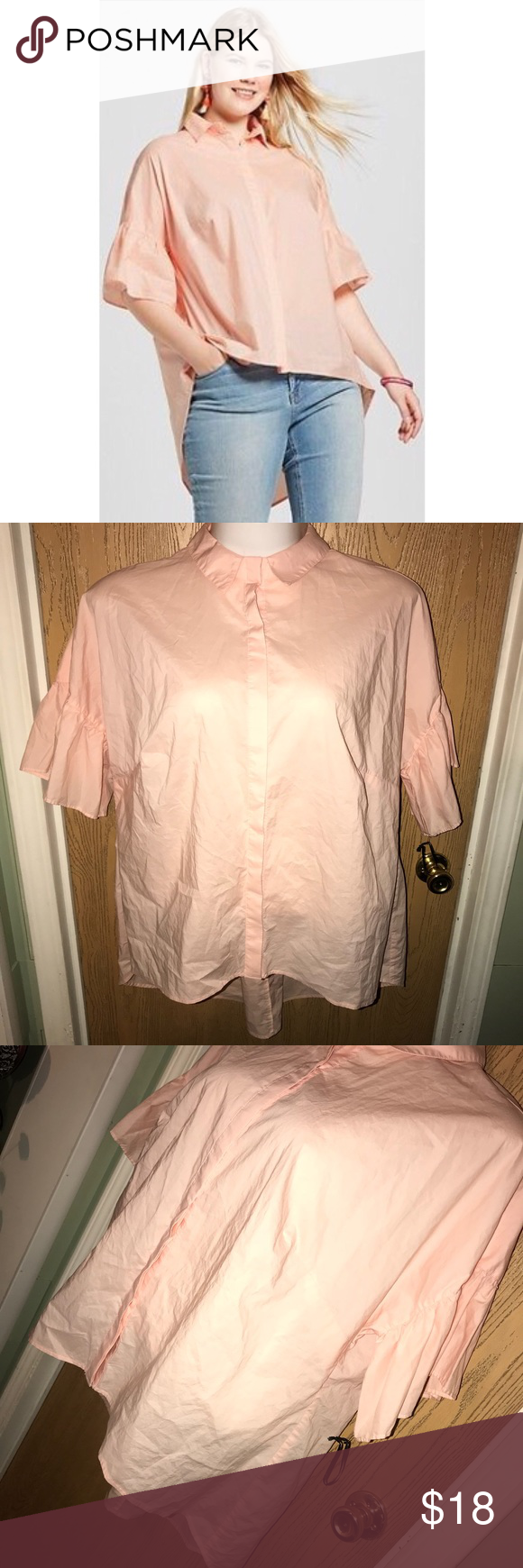 "⬇️Peach bell sleeve button up top Super cute light peach bell sleeve top.  ❗️Please no low ball offers.❗️ ❗️Bundles always get a discount.❗️ Please check measurements before purchasing.  Condition: NWOT Measurements- Armpit to armpit: 28"" Total length: 27"" to shortest part of hem, back is longer   Smoke free home but I have a small dog.  Thanks for checking out my closet! ❤️ Ava & Viv Tops"