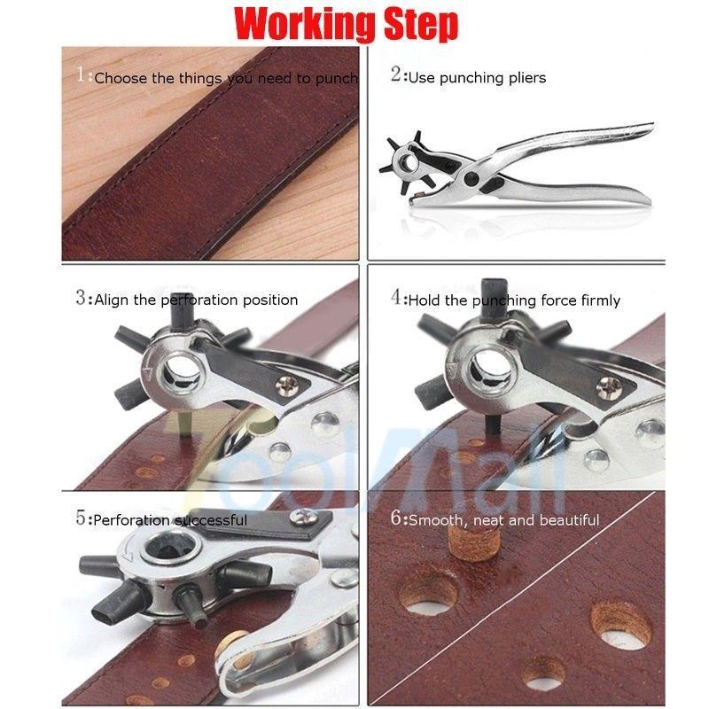 3pc Leather Belt Hole Punch Snap Button Grommet Setter Tool Kit Eyelet Plier