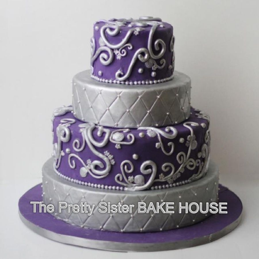 Purple And Silver Wedding Cake The Pretty Sister Bake House