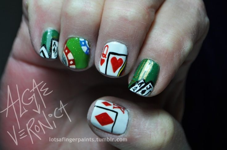 Casino Nail Art Playing Card Nails Great For A Gambling Trip