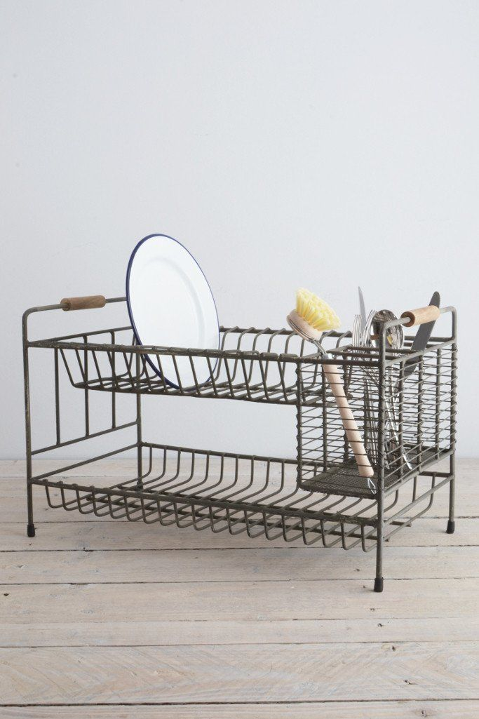 Home Basics 2 Tier Dish Rack Simple Vintage Wire Dish Drainer Rack  Dish Drainers Vintage And Kitchens Inspiration Design