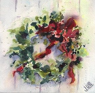 Love the loose flowing style of this watercolor Christmas wreath