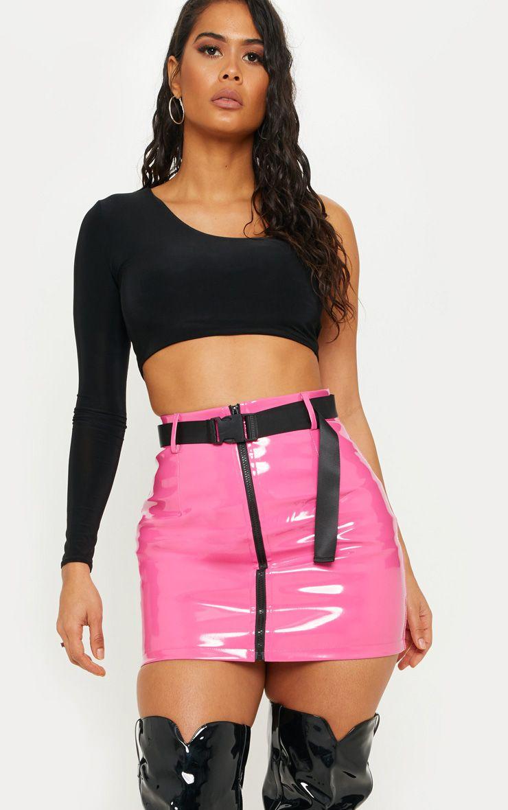 Open Back Vinyl Mini Skirt