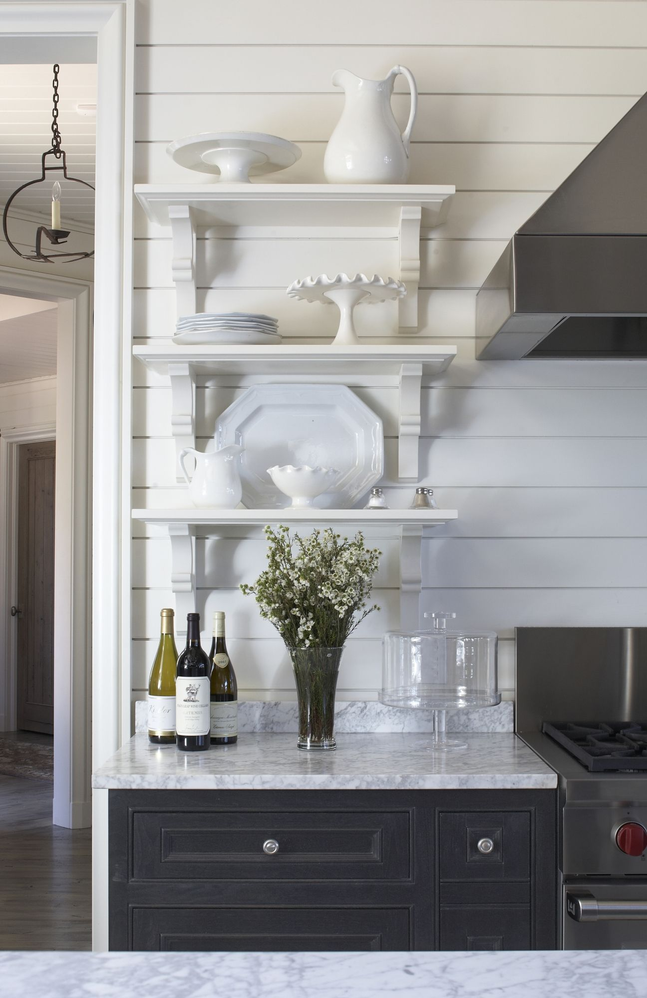 Small open shelving i like that but look at the light fixture