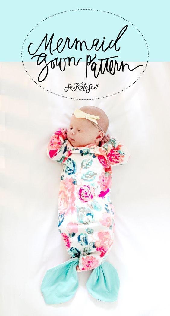 Mermaid Baby Gown Tutorial + Owlet Smart Sock Review | Bebé, Costura ...