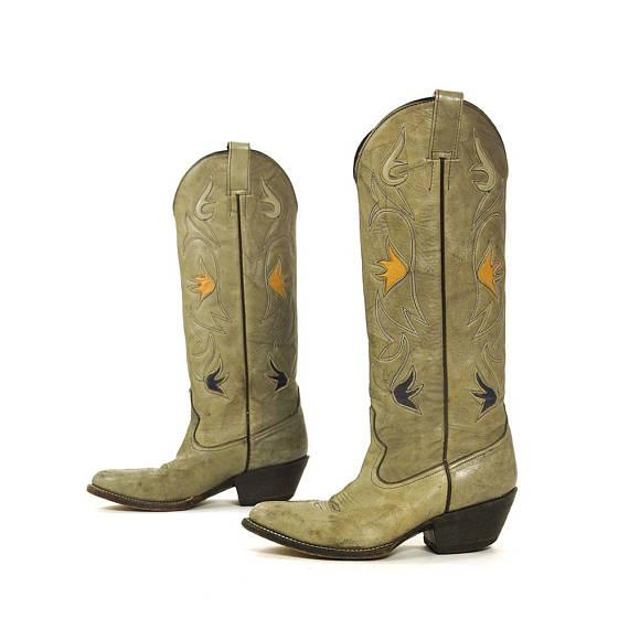 f2d0b6c60da Grey Leather Cowboy Boots Vintage Morgan & Miller Tall Western Boho ...