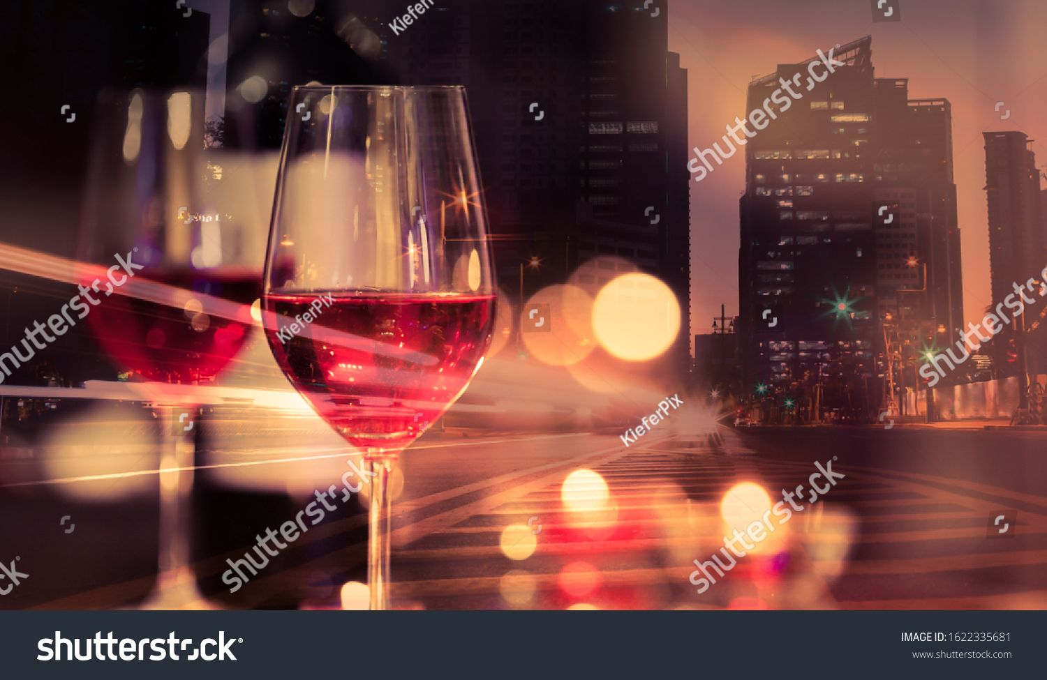 Wine and dine in the city background Modern food and drink concept