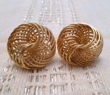 Stunning Gold Tone Swirled Earrings by Napier