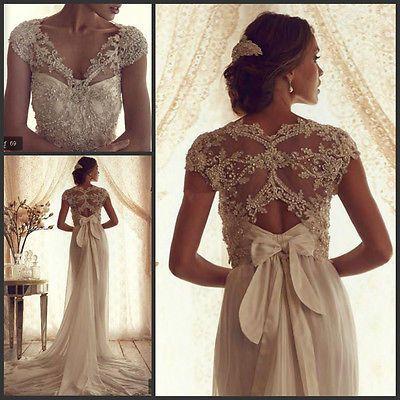 V neck Beads Bow Sash Chiffon Backless Court Train Wedding Dresses Bridal Gowns