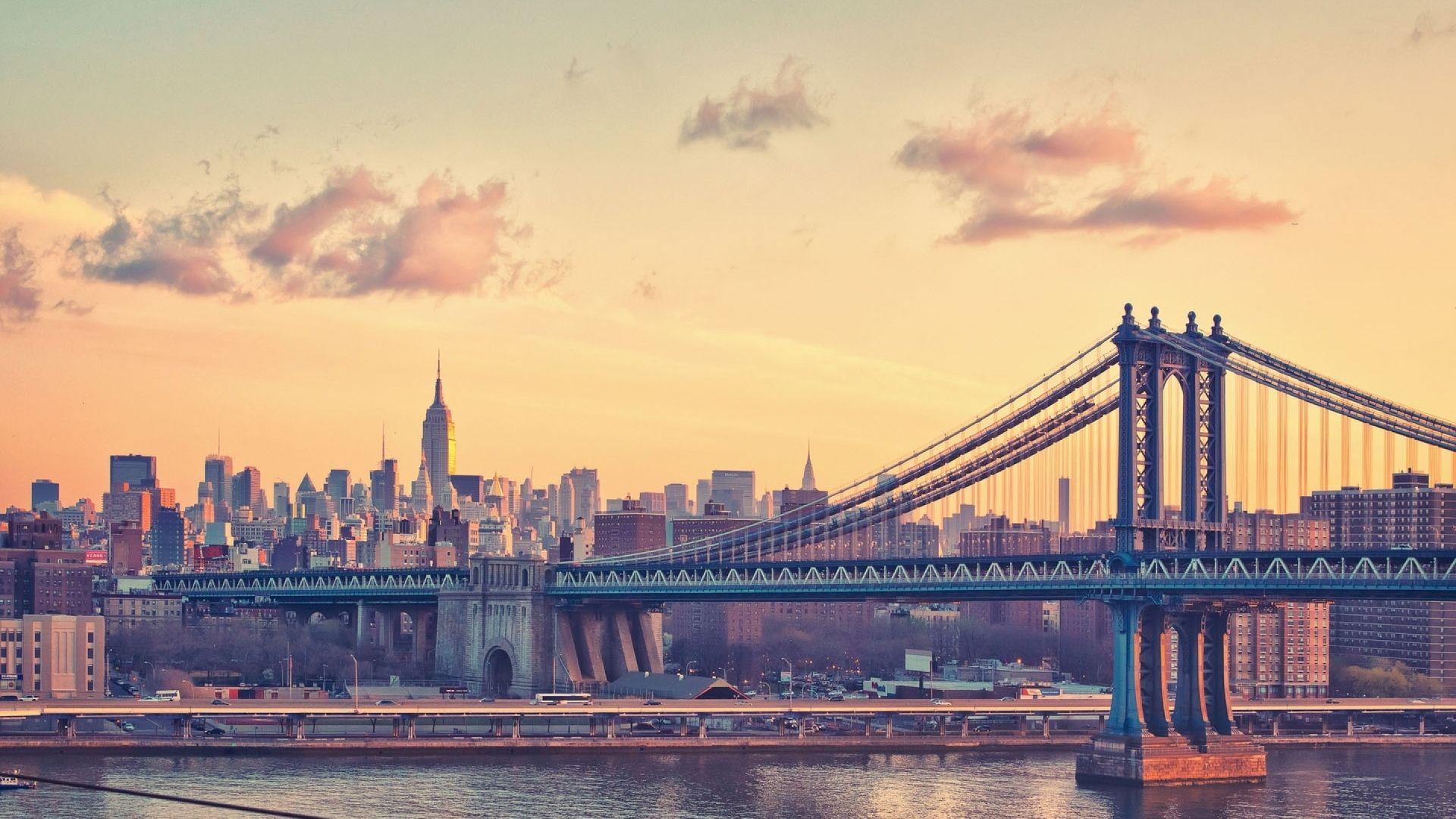Manhattan Bridge At Dusk New York USA Background Desktop