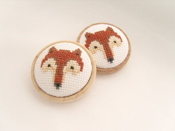 Fox Brooch, Cross Stitched Fox, Backed With A Wooden Base, handmade by GorgeousCraftsUK Fox design courtesy of ⓒ Lucykate Crafts