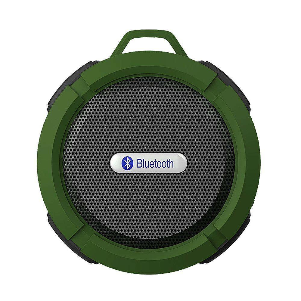 ZhiZhu Wireless Bluetooth 3.0 Muti-function 5W Waterproof Portable Speaker with Carabiner and Built-in Microphone - Green