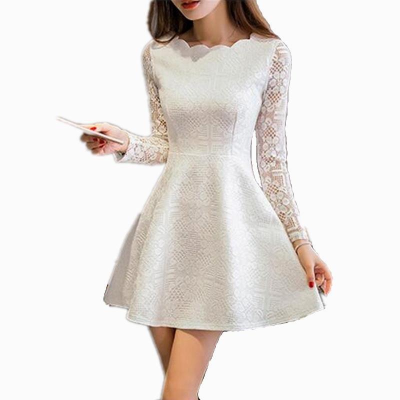 d3f2e7d001cb9 Lace Long Sleeve White Black Pink Mini Dress | Cool Girl | Dresses ...