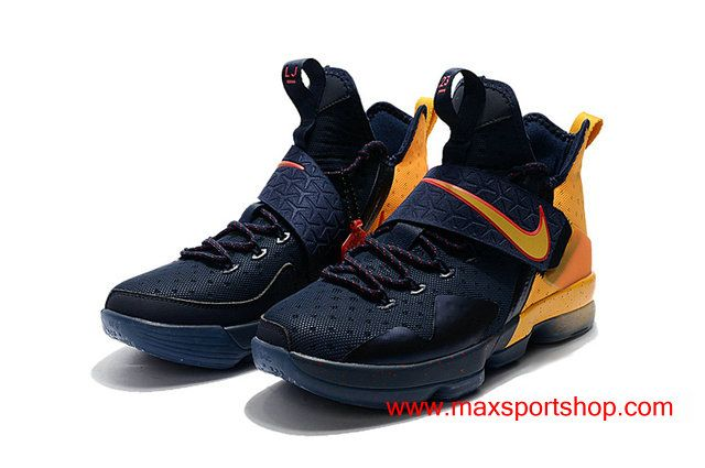 0ab0b475875d7 ... low cost official nike lebron 14 dark blue and yellow basketball shoes  for men 7dcdf e28f4