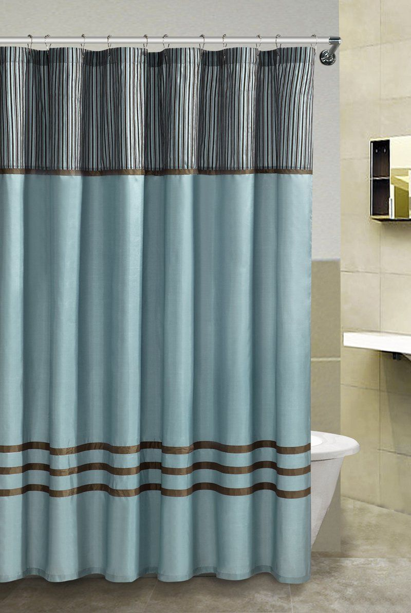 Amazon.com - Fabric Shower Curtain: Blue and Brown - | House ...