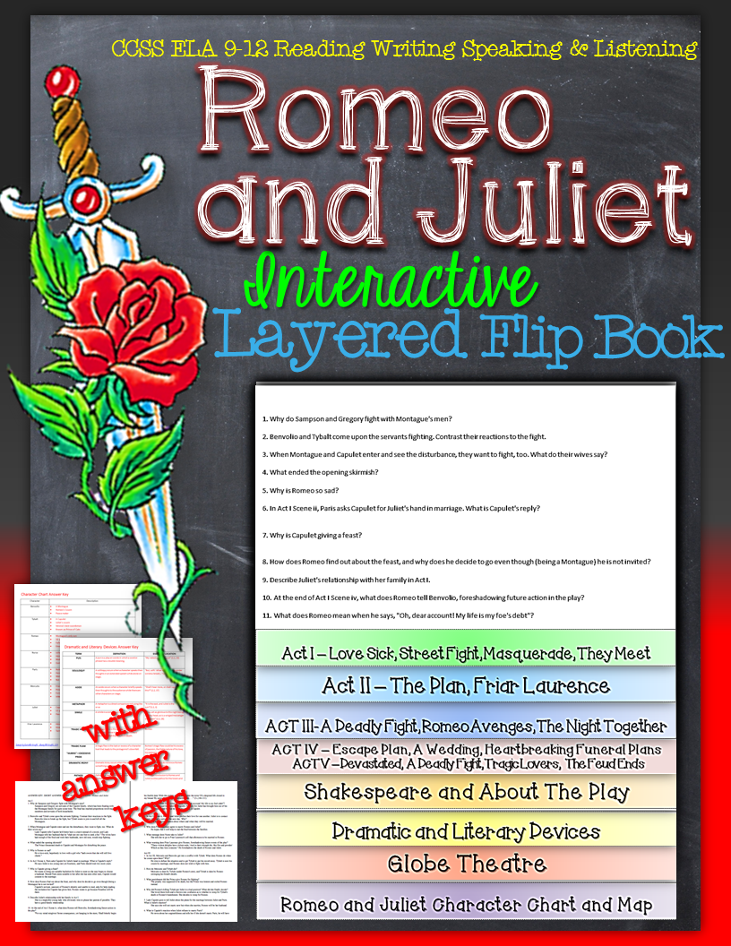 romeo and juliet reading literature guide flip book romeo and romeo and juliet interactive layered flip book