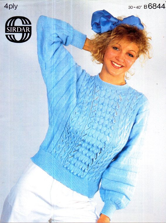 c4614ccf315de6 Genuine Vintage 1980s SIRDAR 6844 Fashionable BATWING Cabled and Bobble Ladies  Jumper Knitting Pattern